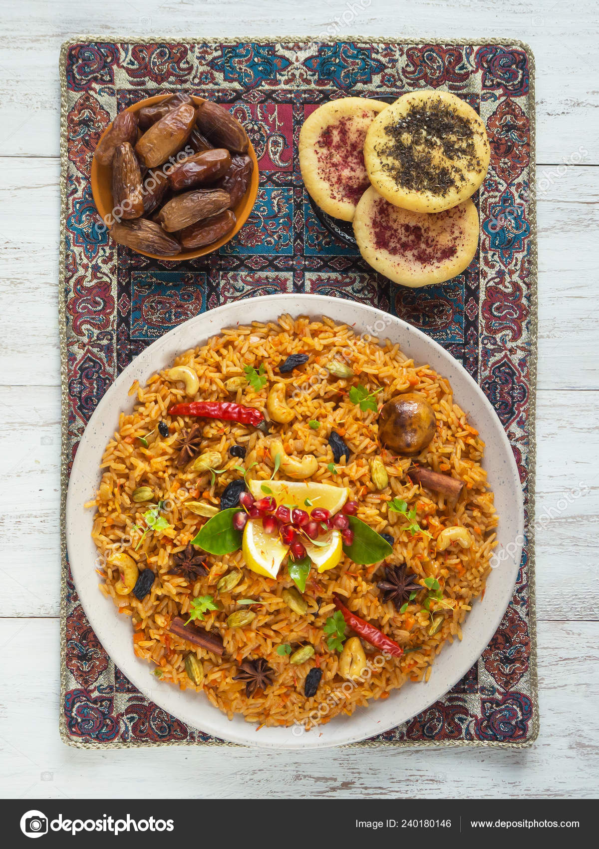 Cuisines Similar To Indian Kerala Vegetable Biriyani Indian Cuisine Top View Stock Photo