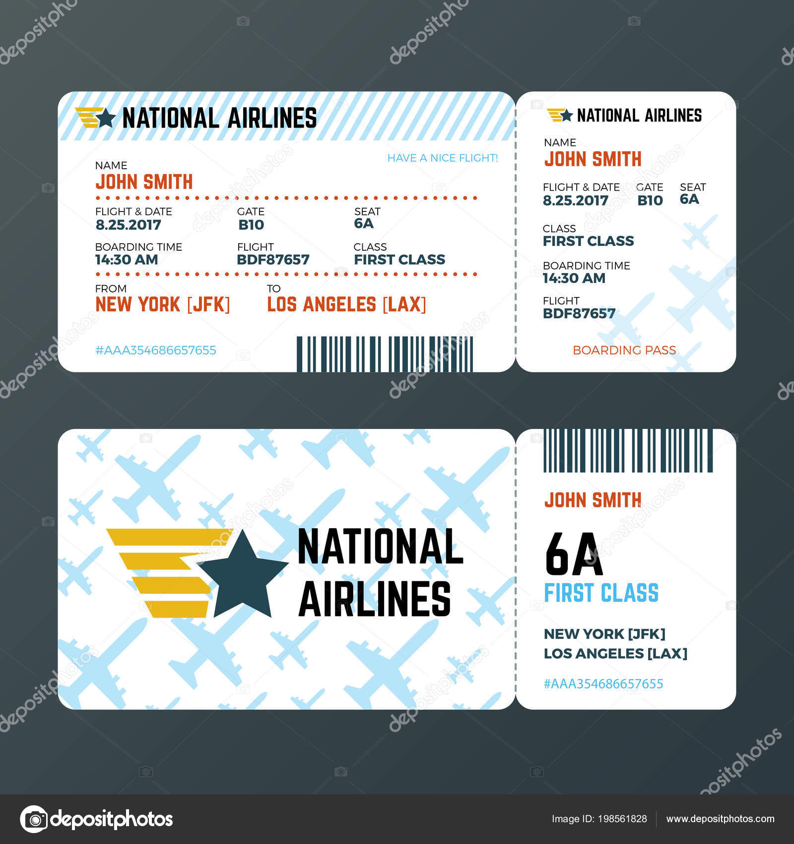 Billet Vol Avion Vol Boarding Pass Billet Isolé Vecteur Modèle De Image