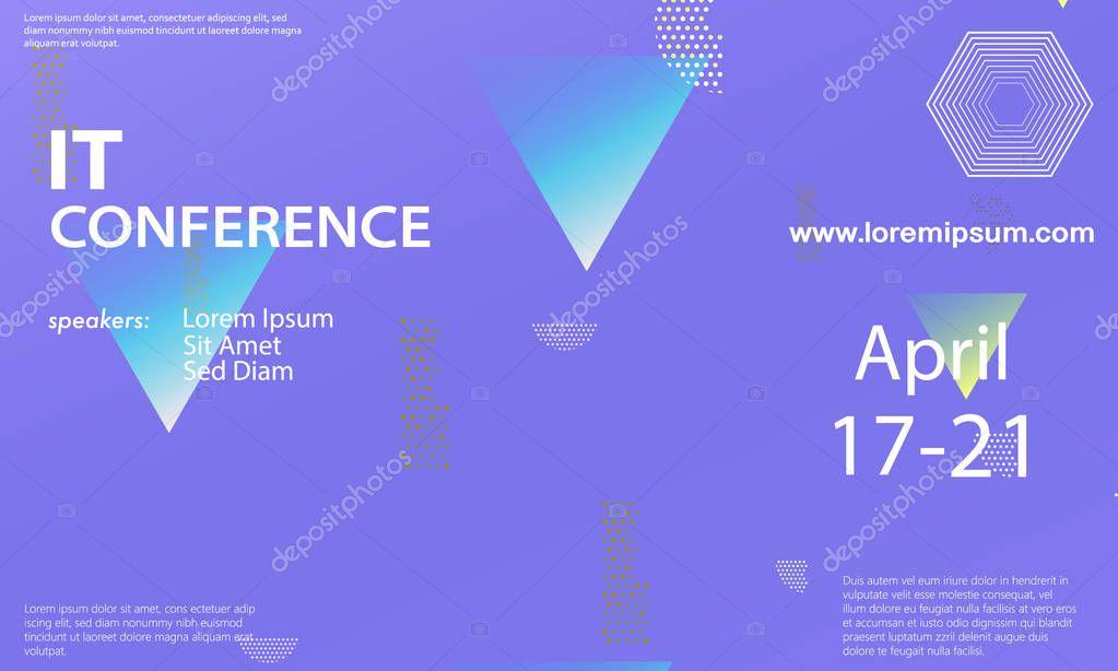 Conference announcement design template \u2014 Stock Vector