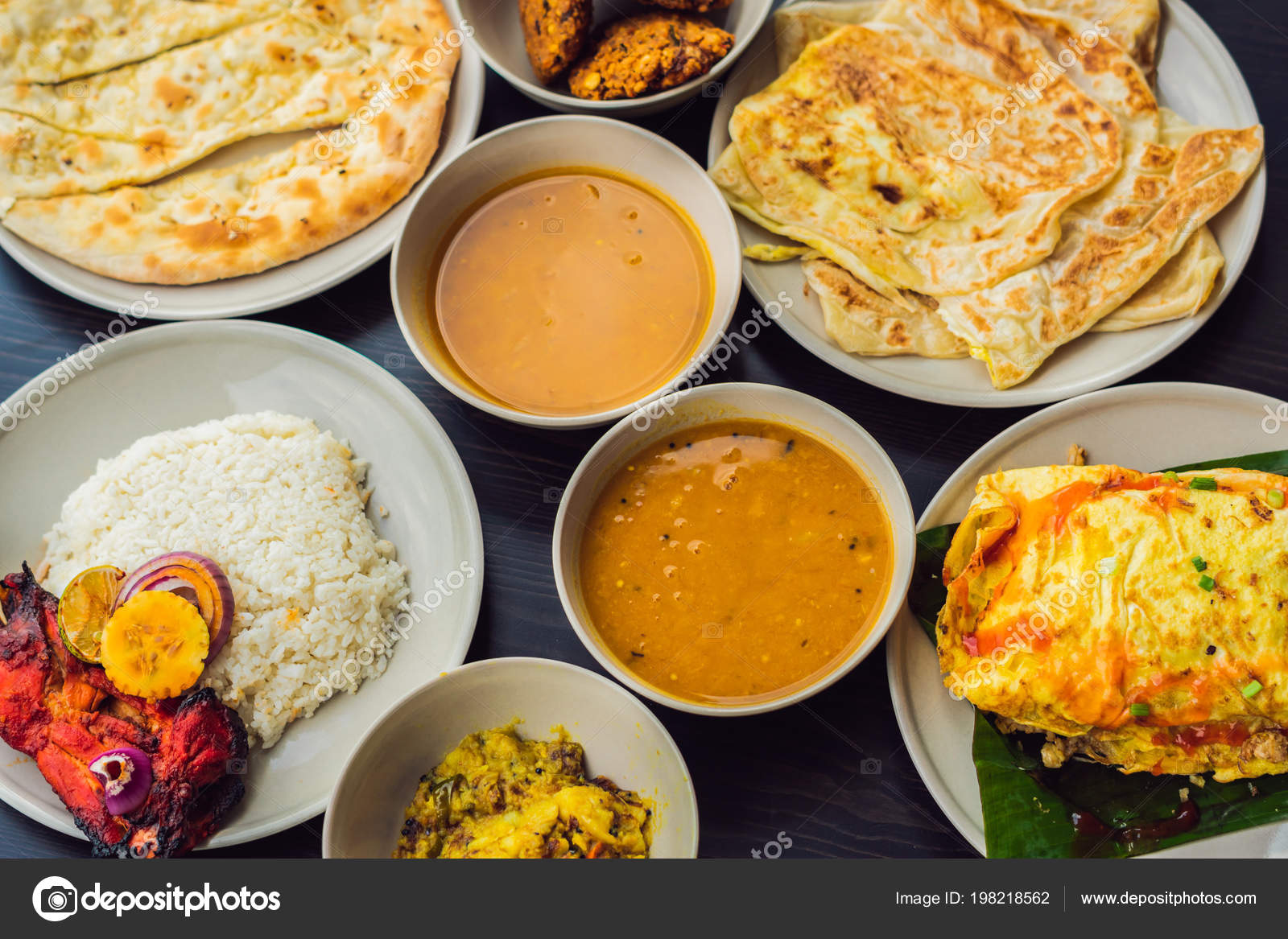 Cuisines Similar To Indian Assorted Indian Food Dark Wooden Background Dishes Appetizers