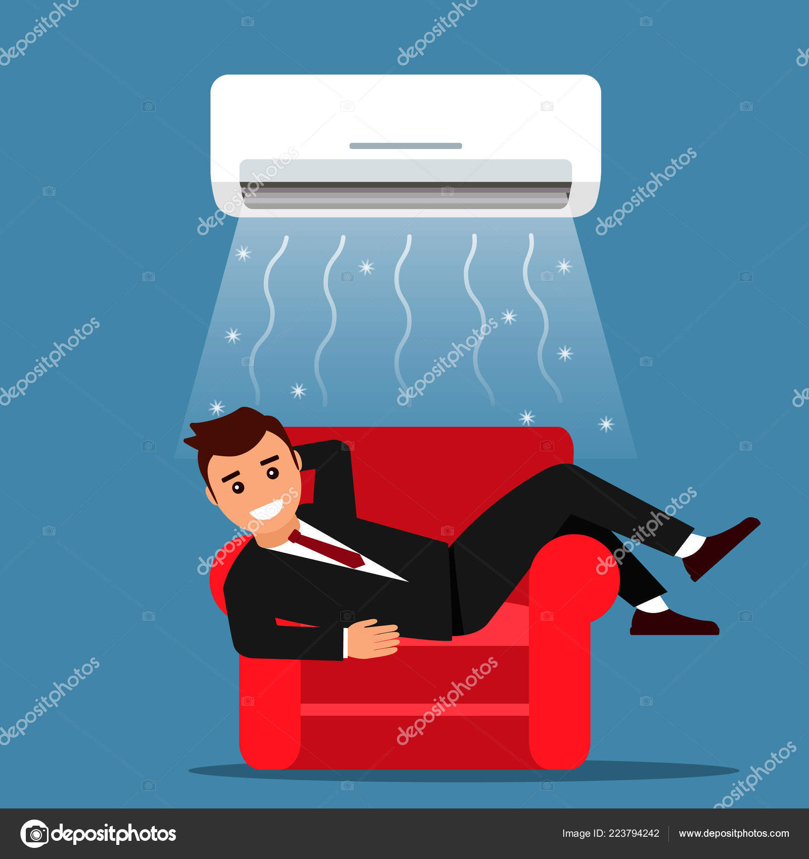 Air Sofa ár Young Man Businessman Resting Home Office Sofa Air Conditioning