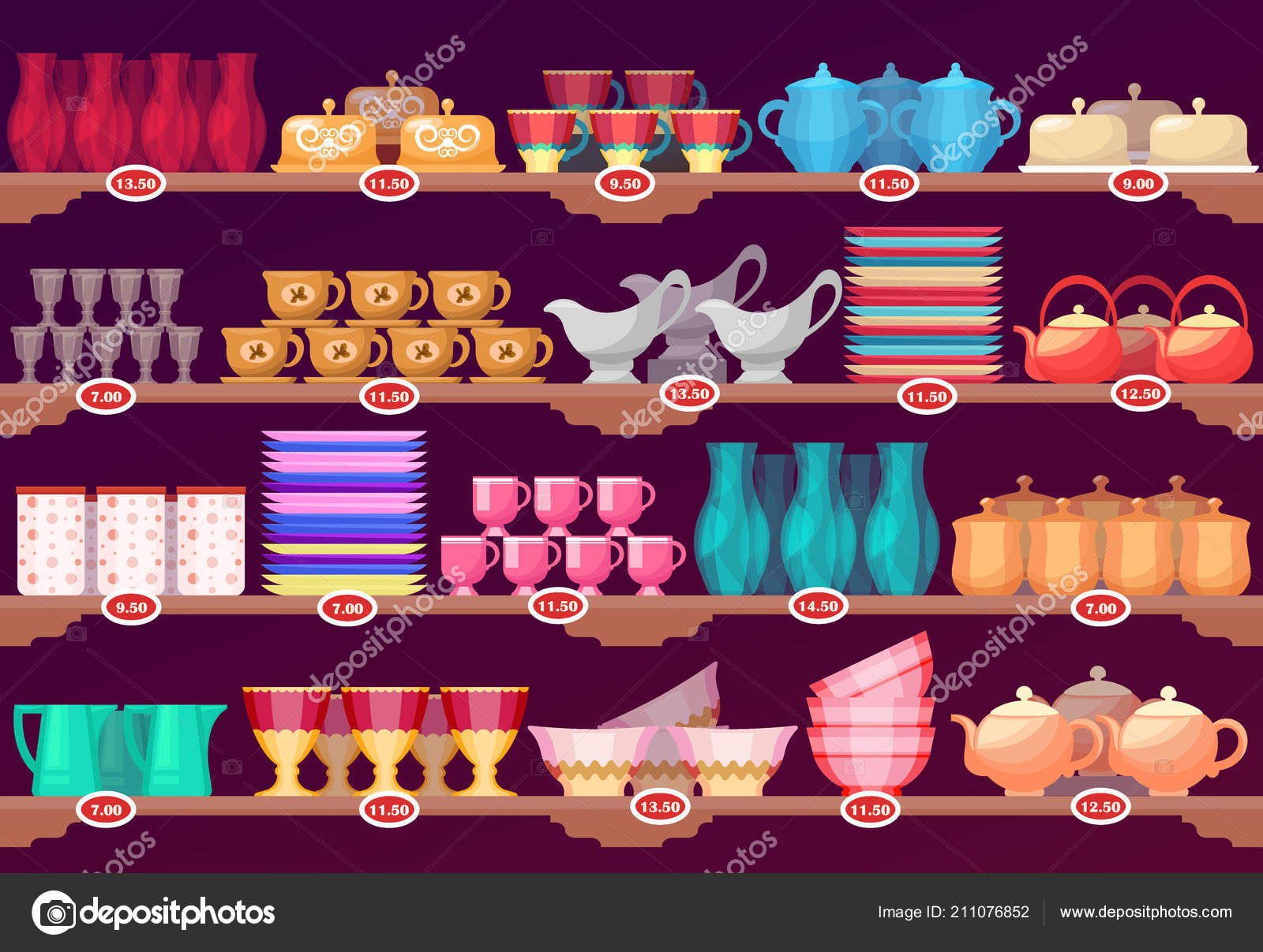 Kitchenware Shop Shop Or Store Showcase With Kitchen Dish Crockery Stock Vector
