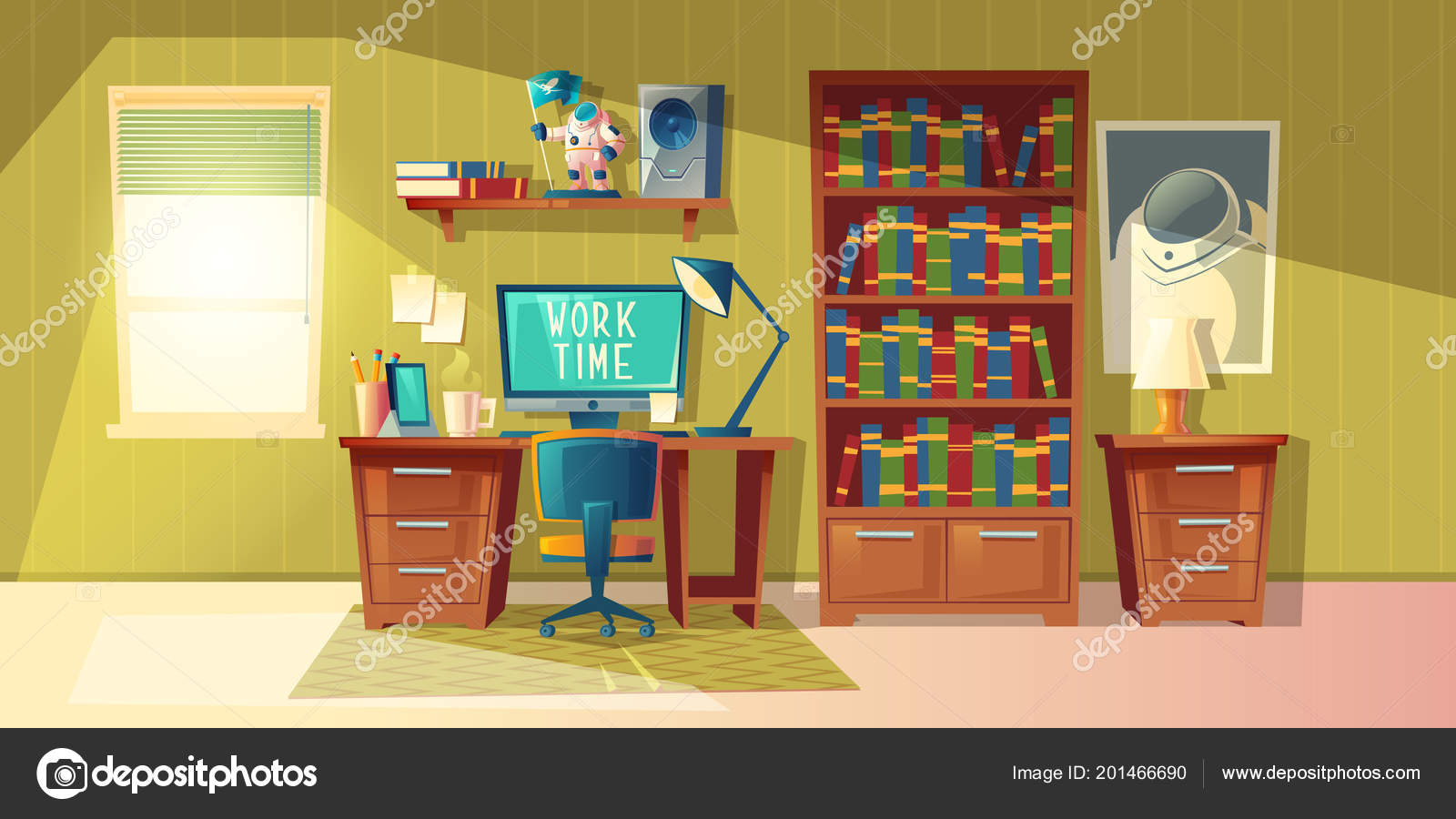 Einrichtung Home Office Vektor Cartoon Illustration Leer Home Office Mit Bücherregal Moderne