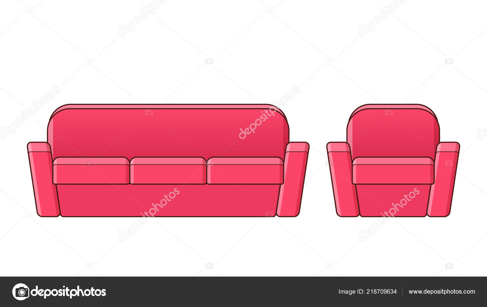 Sofa Set Vector Free Download Sofa Couch Armchair Linear Icon Vector Outline Furniture Line Art