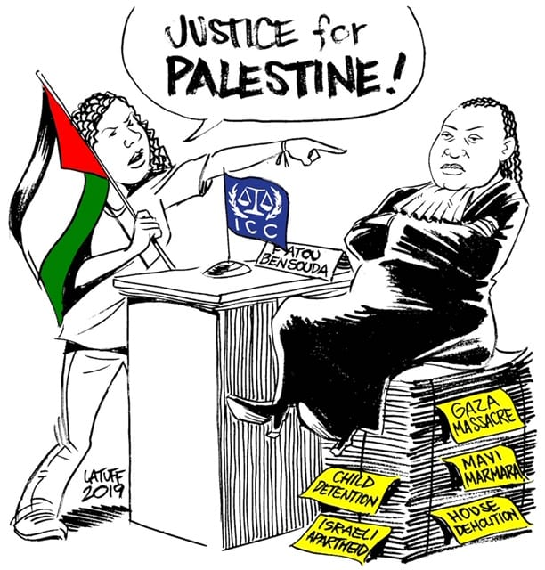 Drawing by Carlos Latuff in solidarity with the demonstration in front of the International Court on 29 November 2019