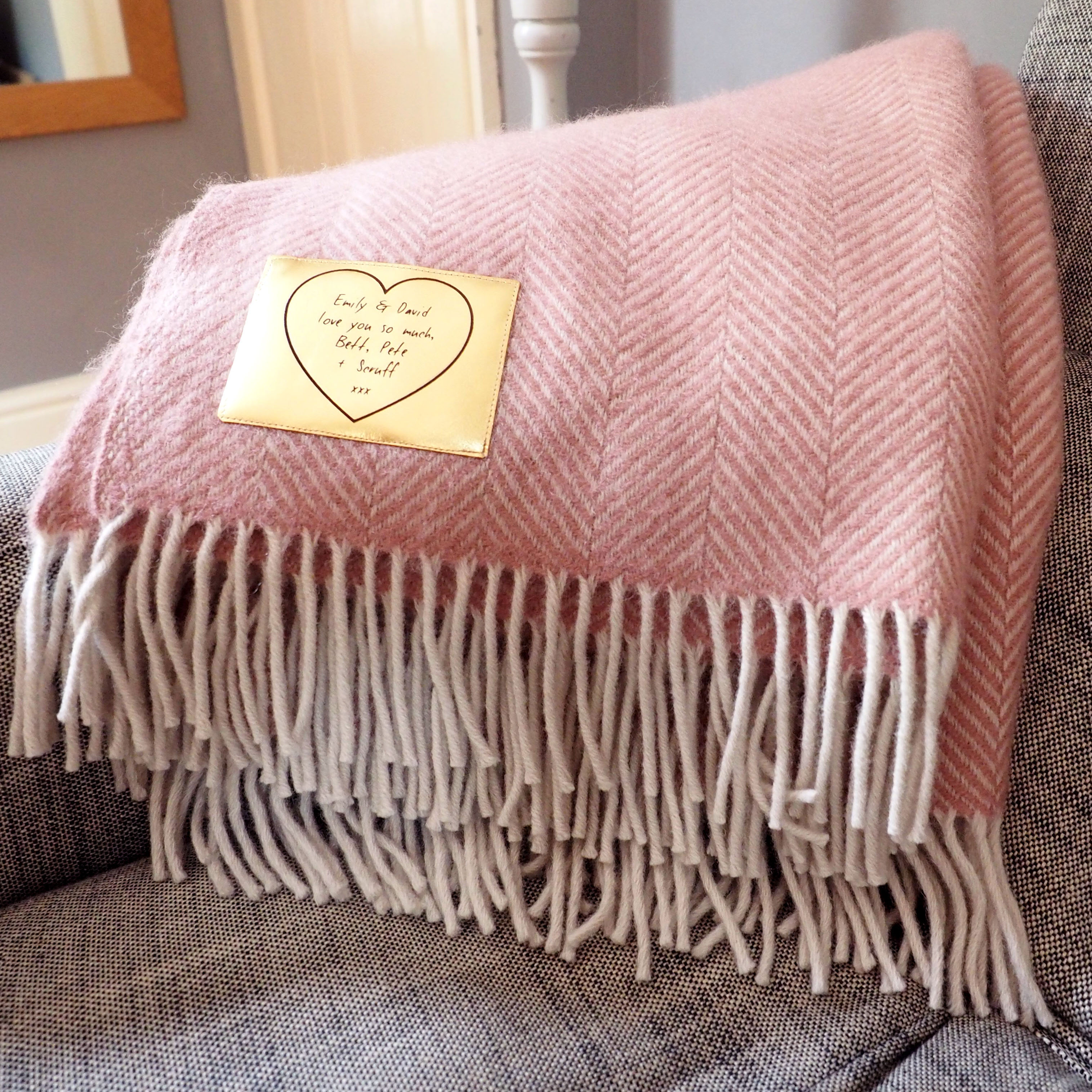 Pink Throw Herringbone Throw Personalised With A Gold Patch Stabo