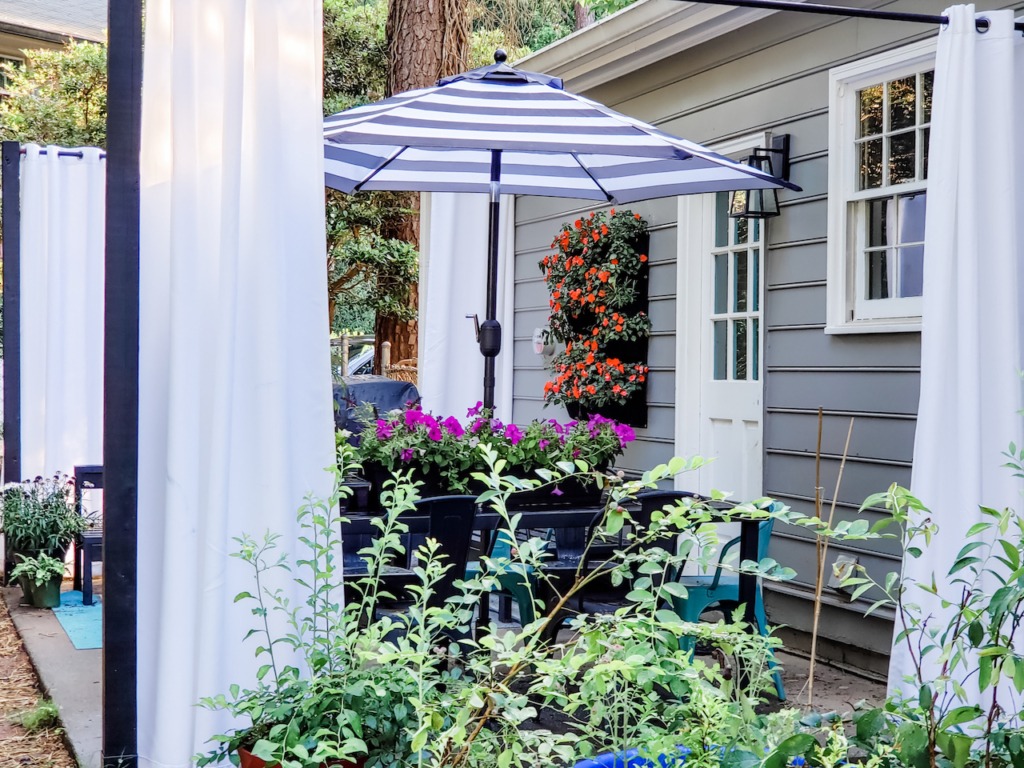 Inexpensive And Easy Diy Floating Outdoor Curtains Stacie S Spaces