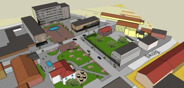 """Det vita huset, """"Vita Villan"""", nederst i bilden är idag en populär restaurang och hotell. Bakom det vita huset ligger en röd byggnad som är kommunhuset. Längst upp till höger i bilden ligger en gul byggnad som är ortens buss och tågstation. Stadskärnan har alltså ett bra läge om man vill ta sig dit med kollektivtrafik. (Bild: Ulf Liljankoski)"""