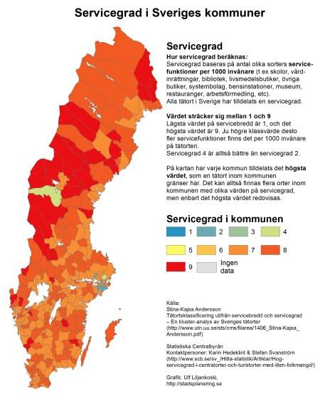 Högst servicegrad i Sveriges kommuner (baserat på högsta värdet på servicegrad hos tätort inom kommunens gränser)