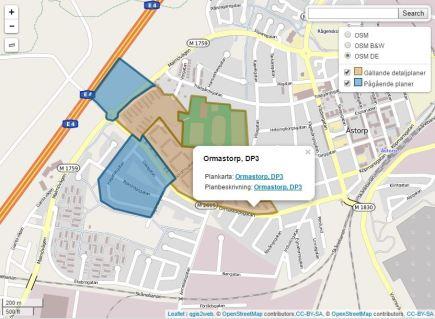 Exempel på hur man kan publicera detaljplaner på en webbkarta.