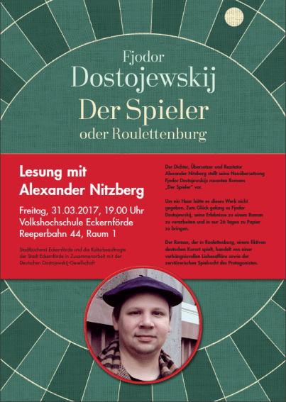 """Plakat zu der Veranstaltung """"Der Spieler"""" mit Alexander Nitzberg"""
