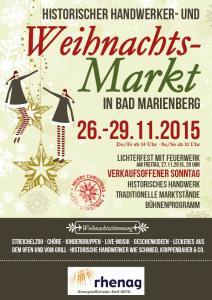 Programm Historischer Handwerker- und Weihnachtsmarkt Bad Marienberg 2015