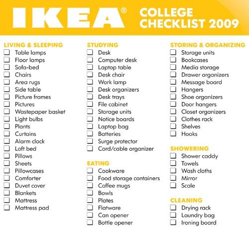 Freshman College Dorm Room Essentials  Checklists - college organizer