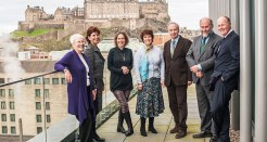L to R: Elizabeth Laird, Louise Richardson, Kirsty Wark, Duchess of Buccleuch, Duke of Buccleuch, Alistair Moffat, Jonathan Tweedie