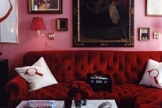 Modern-red-velvet-sofa