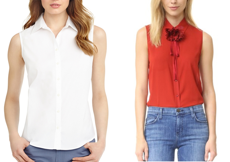 button-down sleeveless top for summer