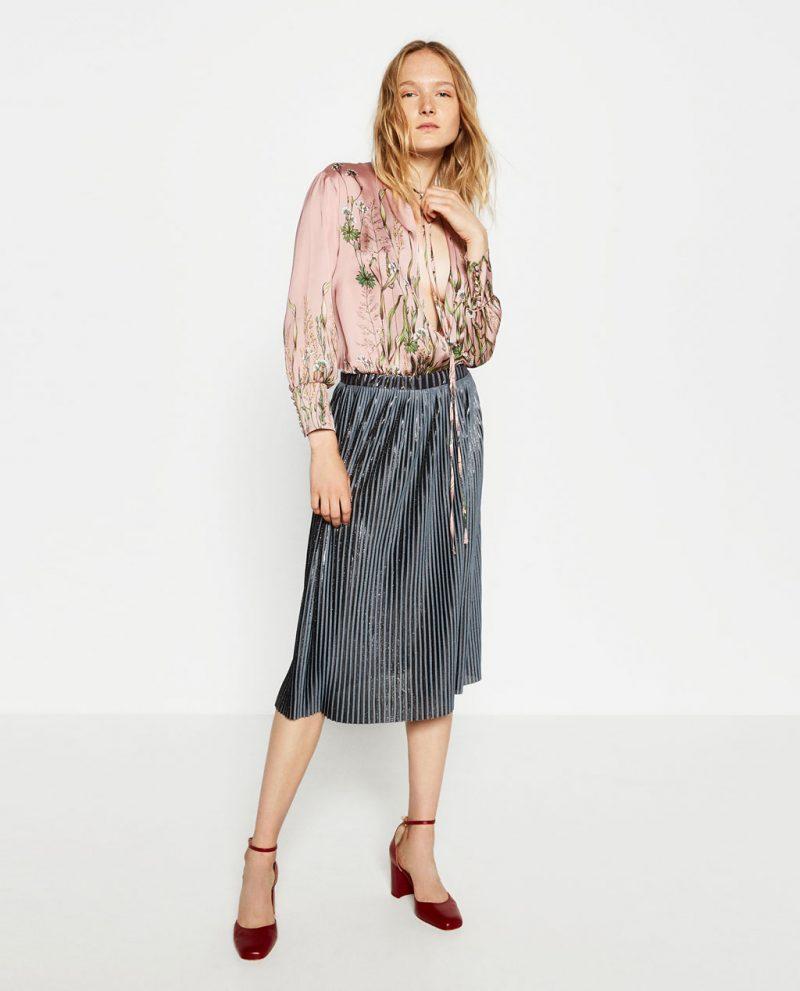 stripe pleated midi skirt
