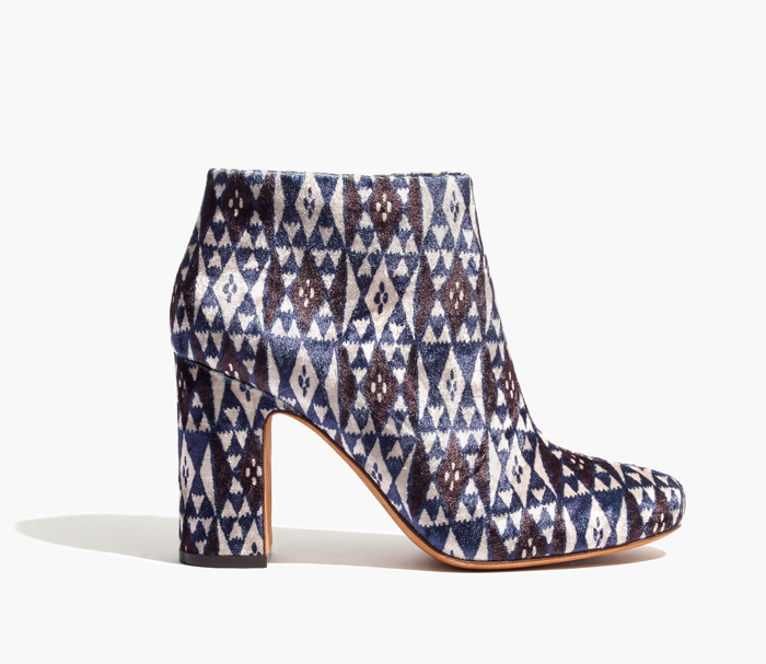 madewell printed velvet ankle boots
