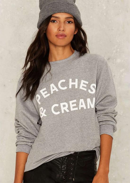 stylish graphic sweatshirt peaches and cream