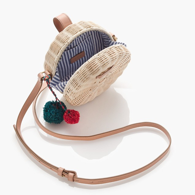 j. crew circle crossbody straw bag.