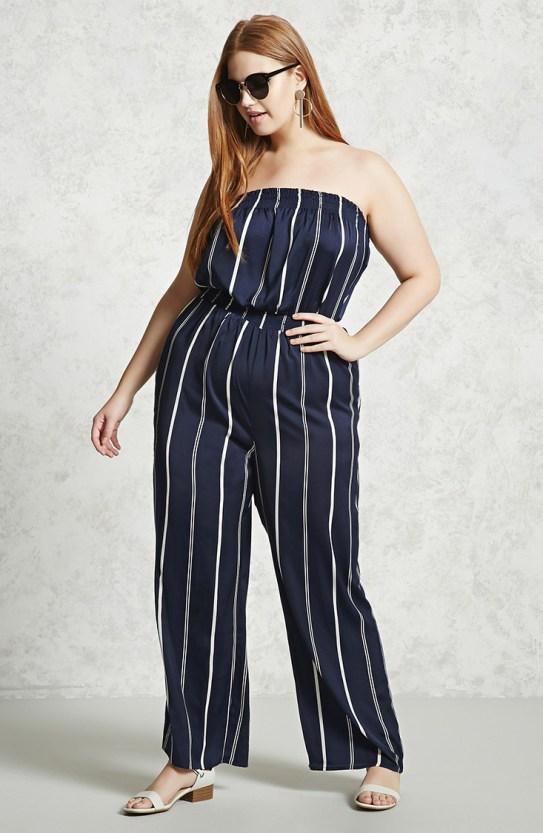strapless jumpsuit blue stripes