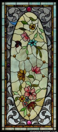"""Floral Oval"" Stained Glass Window"