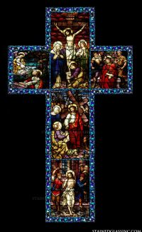 """Cross Appasionata"" Religious Stained Glass Window"