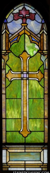 """Sacred Cross in Stained Glass"" Religious Stained Glass Window"