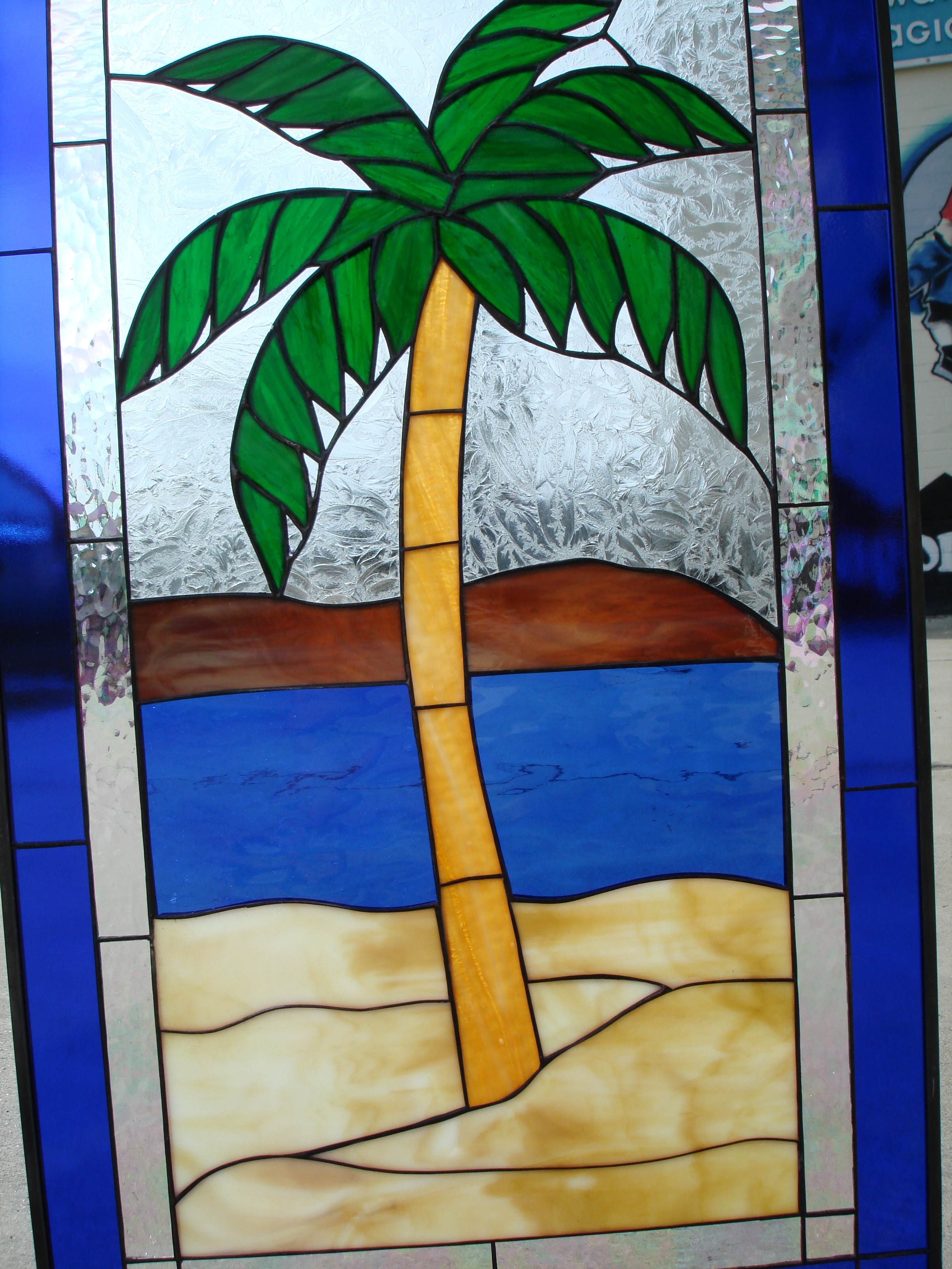 Palm Island Island Palm Tree Leaded Stained Glass Window Panel