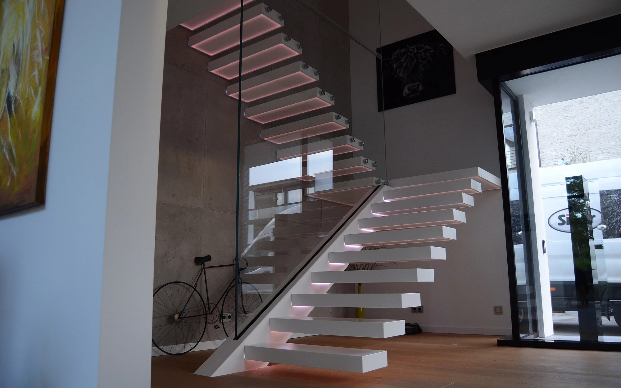 Siller Treppen Corian Staircase With Led Lighted Treads - Siller Stairs