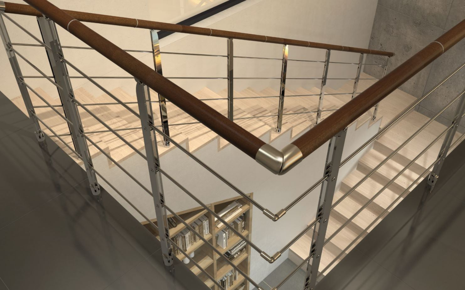 Modern Railing Systems in wood, cable wire, stainless