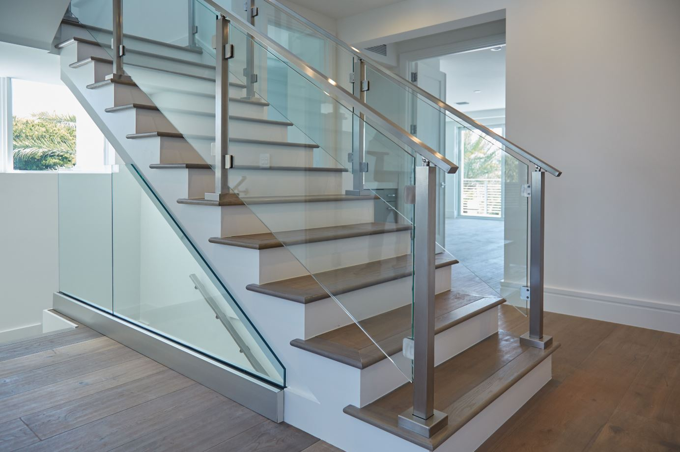 Paneled Staircase Modern Railing Systems In Wood Cable Wire Stainless