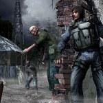 Зомбированные люди идут в деревню