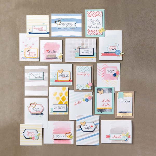 Watercolor Wishes Card kit includes everything you need to make 20+ handmade cards, precut, with embellishments. Stamp with the ink and stamps included and give them away to those special people in your life. Learn more at StampinFool.com