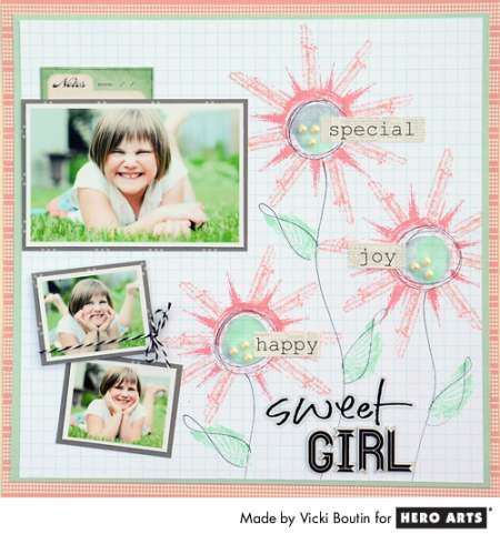 Project: Stamped Flower Scrapbook Page