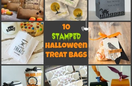 10 stamped halloween treat bags