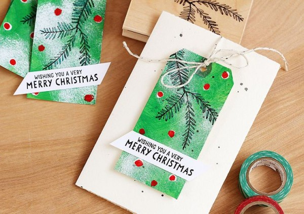 Technique: Painted and Stamped Christmas Tags