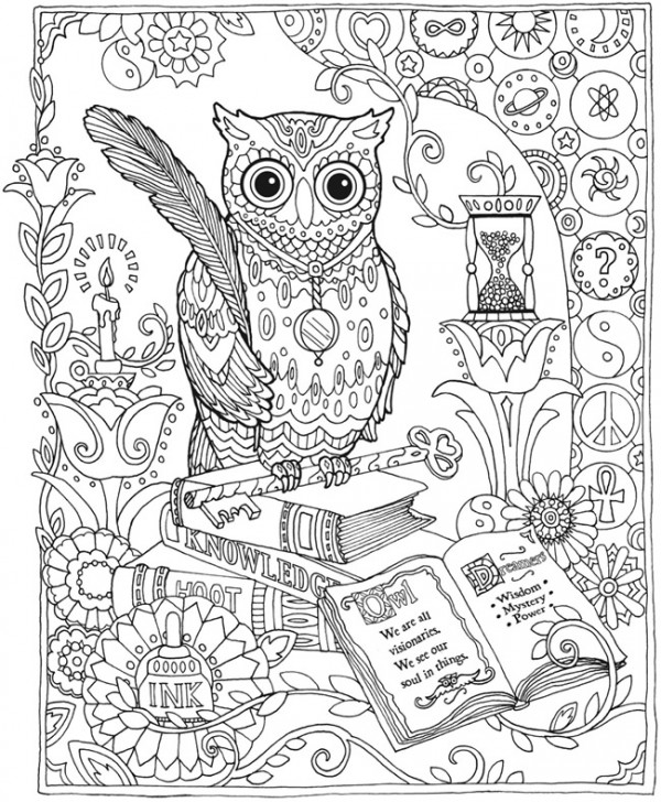 Free Coloring Pages Of Owls Reading