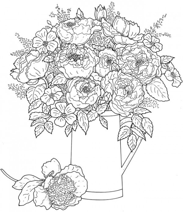 Line Drawings Of Flower Arrangements : Freebie floral coloring page stamping