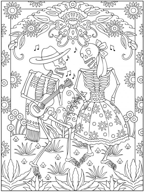 Freebie Day Of The Dead Coloring Page Stamping