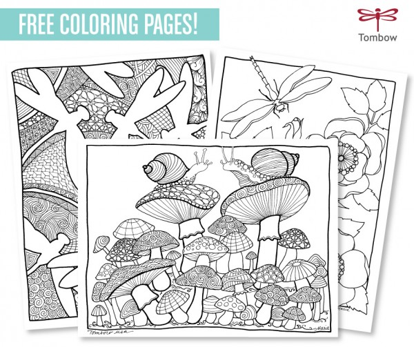 Coloring book with markers : Freebie and technique coloring pages with markers stamping