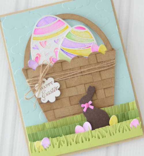 Project Die Cut Easter Basket Card Stamping