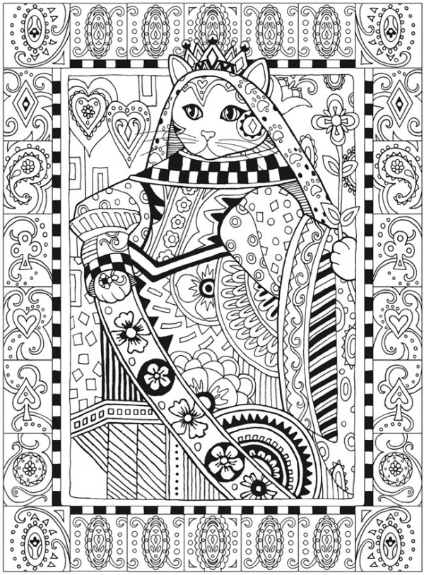 Freebie: Queen Cat Coloring Page