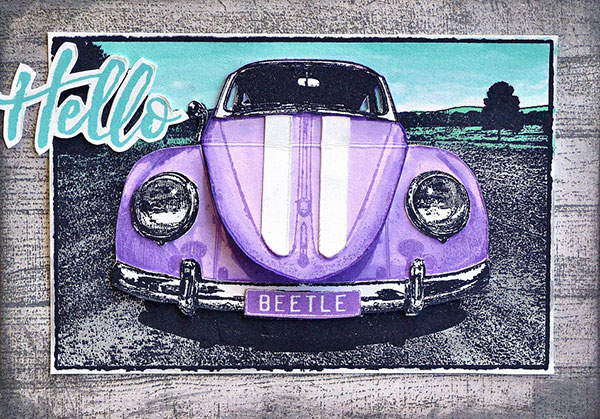 Inspiration: 10 Cards with the Same VW Bug Car Stamp