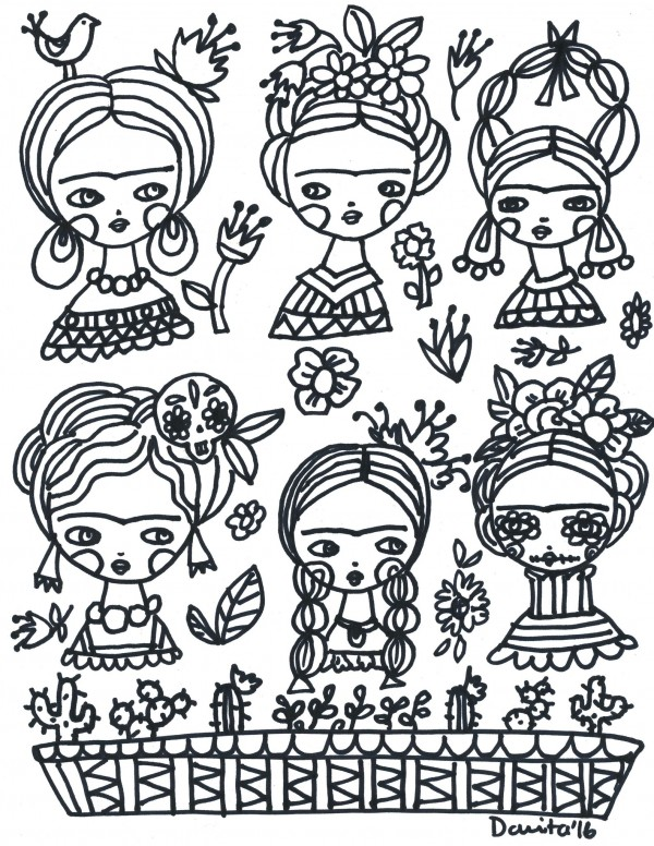 Freebie: Frida Kahlo Color Page