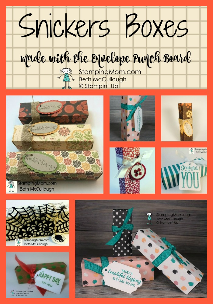 Stampin Up Snickers Boxes made with the Envelope Punch Board, designed by demo Beth McCullough. Please see more card and gift ideas at www.StampingMom.com #StampingMom #cute&simple4u