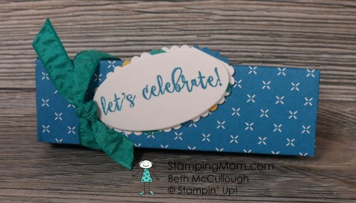 Stampin Up Snickers Box made with Party Animal DSP designed by demo Beth McCullough. Please see more card and gift ideas at www.StampingMom.com #StampingMom #cute&simple4u
