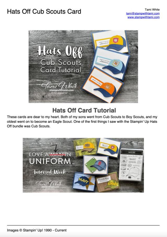 Hats Off Cub Scouts Card Tutorial pdf