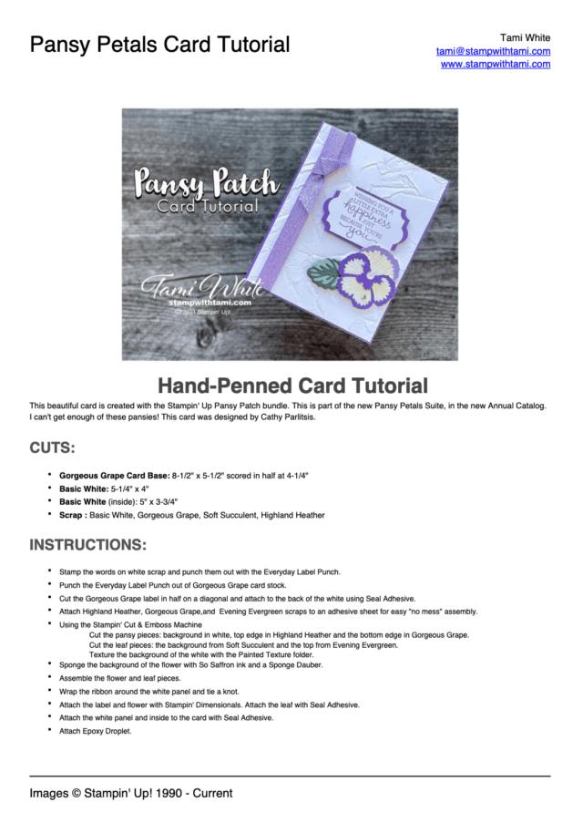 Pansy Patch Card Tutorial pdf
