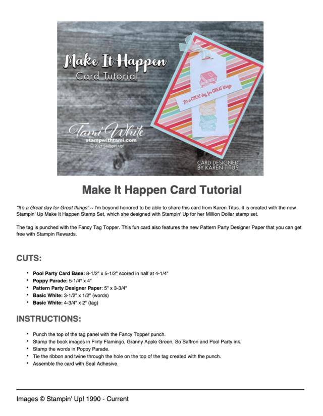Make It Happen Card Tutorial pdf